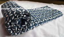 New Indian Cotton Kantha Quilt Hand Block Print Twin Bedspread Coverlet Blanket