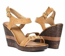 "Camel Color Casual Slingback Faux Leather 4"" Wedge Heels Womens Sandals Shoes"