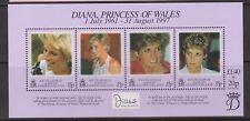 1998 hoja de sellos princesa Diana Memorial estampillada sin montar o nunca montada Georgia del Sur SG MS278