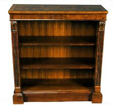 Small 3 Foot Mahogany Wood Bookcase With Adjustable Shelves and Burl Accents