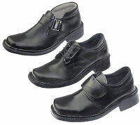 BOYS SCHOOL SMART DRESS SHOES KIDS FORMAL WEDDING BLACK TRAINER NEW 7-10(24-44)