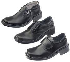 Scarpe nere in sintetico con lacci per bambini dai 2 ai 16 anni
