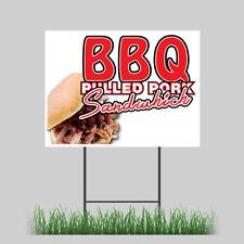 "12""x18"" Bar-B-Que Pork Yard Sign Fresh BBQ Smoker Concession Stand"