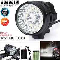 Waterproof 30000LM 12 x CREE XM-L T6 LED 6 x 18650 Bicycle Cycling Light Lamp UK