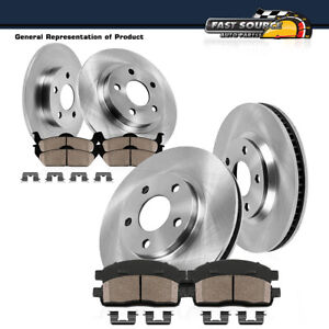 For 2016 Fiat 500X 2015 2016 Jeep Renegade Front+Rear Brake Rotors Ceramic Pads