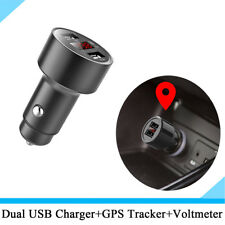 3.1A Dual USB Car Phone Charger GPS Tracker Locator with Voltage Meter Black