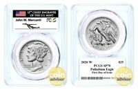 2020 W $25 Burnished Palladium Eagle PCGS SP70 First Day of Issue Mercanti