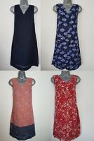 Ladies NEXT Shift Dress Linen Floral Print Summer Vintage Smock Beach Size