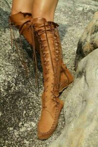 Women's Vintage Over The Knee Boots Roma Leather Lace Up Moccasins Flats Shoes