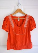ANTHROPOLOGIE FLOREAT sz 6 TANGERINE TWIST vintage style s/s embroidered blouse