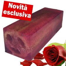 SAPONE ARTIGIANALE CON SPUGNA NATURALE DI LUFFA Fragranza di Rosa in barra 110g