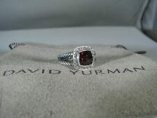 David Yurman Authentic Albion 7Mm Garnet Pave Diamond Ring Size 5 D.Y. Pouch
