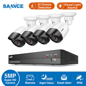 SANNCE CCTV 5MP System Kit 8CH H.264+5IN1 DVR AI Human Remote Access Security UK