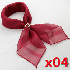 50x50cm Ladies Business Casual Solid Silk Chiffon Candy Color Square Neck Scarf