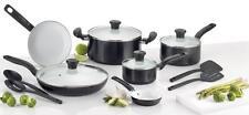T-fal C921SE Initiatives Ceramic Nonstick Cookware Set, 14-Piece, Black, NEW