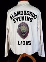 VINTAGE 1970'S LIONS CLUB LIGHT TAN COTTON ZIPPER JACKET WITH IRRIDESCENT SZ  XL