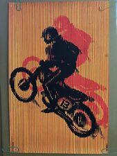 Motocross Original Vintage Blacklight Poster Psychedelic Pin-up 1970's dirtbike