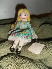 "7 1/2"" Peggity doll clothes pin / Peg Wooden Doll hand painted yarn hair"