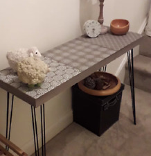 Small Console Table Vintage Hallway Furniture Industrial Wooden Side Metal Leg