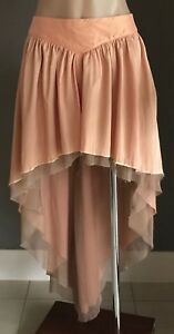 Designer AUGUST STREET Peach Hi Low Goth Punk Skirt Size 12