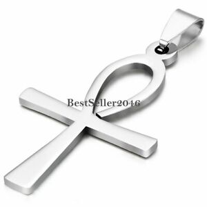 Egyptian Ankh Cross Charm Pendant Stainless Steel Mens Womens Necklace Chain