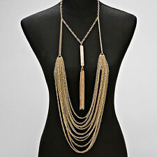 Crystal Bar Tassel Necklace Gold Layered Chain and