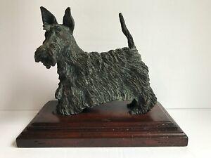 MAITLAND-SMITH Signed Bronze Scottie Terrier Dog Sculpture on Wood-Doorstop-Desk