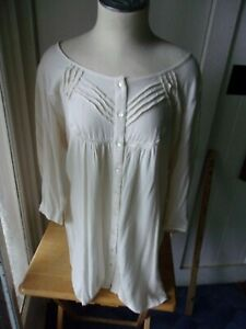 April Cornell Medium Victorian looking antique white/ivory Blouse tunic length