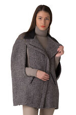 RELISH Size 40 / XS Women's Wool Blend Chevron Asymmetric Fastening Cape Coat