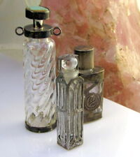Antique Art Deco Set 3 Mexico Twist Wells Sterling Silver Glass Perfume Bottles
