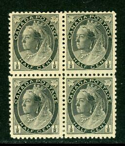 Canada Scott #74 MNH BLOCK of 4 Queen Victoria ½ black CV$50+ Faults ISH-1