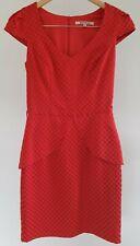 Review Womens Size 8 Casual Red Polka Dot Peplum V-Neck Cap Sleeve Sheath Dress