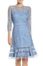 TADASHI SHOJI LACE OVERLAY BLUESTONE FIT & FLARE DRESS sz 2