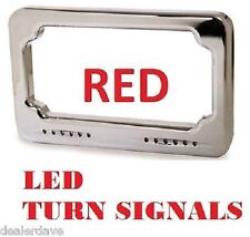LED Turn Signal License Plate Frame by Badlands RED Harley FLH Electra Glide USA