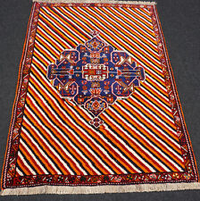 Orient Teppich Rot 168 x 123 cm Blau Beige Perserteppich Streifen Muster Carpet