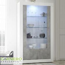 Vetrina 2 ante Urbino Bianco Lucido Cemento credenza moderna salotto