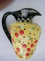 Mary Engelbreit ME INK Polka dot With Full Size Cherries Pitcher 91/2""