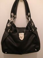 Aspinal of London Black leather Shoulder Bag With Chain Detail. Barbarella.