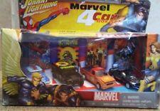 Johnny Lightning MARVEL 4 Car Set Spiderman / X-men / Wolverine 1:64 ( Read )