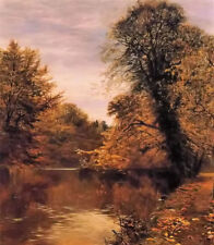 Dream-art Oil painting autumn landscape with  yellow leaves and river hand paint