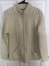 Aran Crafts Ireland S Small Ivory Cream Cable Knit 100% Merino Wool Zip Sweater