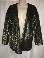 Express Cardigan XS Open Front Black Gold Sequins Womens NWT $108
