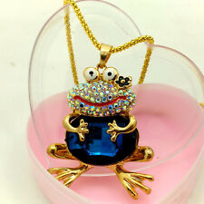 Fashion Gold-plated Crystal Frog Pendant chain charm necklace Pendants DL599
