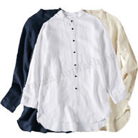 Men Chinese Style Casual Cotton Linen Loose Retro Blouse Stand Collar Shirt Tops