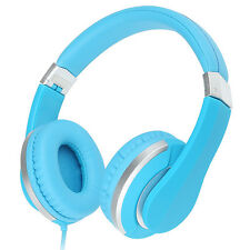 Rockpapa 3.5mm Over Ear Adjustable Stereo DJ Foldable Headsets Headphones Mic Blue