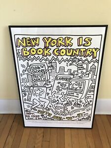 NEW YORK IS BOOK COUNTRY.  Keith Haring, Design POSTER Original 1985