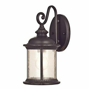 6230600 New Haven One-Light Exterior Wall Lantern on Steel with Clear Seeded Gla