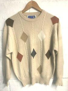 Royal Ballater pale brown diamond pattern Scottish cashmere jumper size 12-14