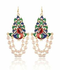 Indian Traditional Designer Peacock Gold Plated Pearls Long Party Wear Earrings