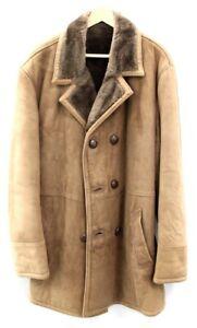 """Men's ST MICHEALS Vintage Brown Genuine Sheepskin Button Up Coat UK Size 44"""" S98"""